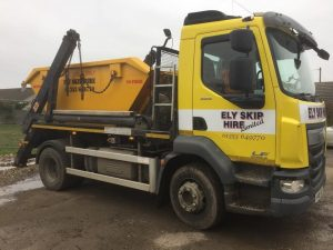 Ely Skip Hire truck with skip on the back